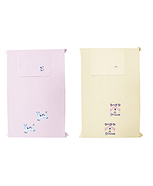 Baby Rap Crib Sheet With Pillow Cover Cow & Pink Embroidery Pack Of 2 - Pink Yellow