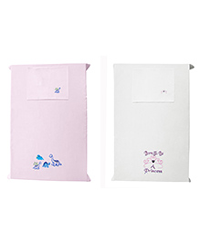 Baby Rap Crib Sheet With Pillow Cover Dino & Girl Power Embroidery Pack Of 2 - Pink White