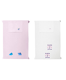 Baby Rap Crib Sheet & Pillow Cover Dino And Princess Embroidery Pack Of 2 - White Pink