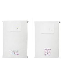 Baby Rap Crib Sheet & Pillow Cover Girl Power And Rainy Duck Embroidery Pack Of 2 - White
