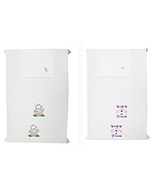 Baby Rap Crib Sheet & Pillow Cover Girl Power And Baby Duck Embroidery Pack Of 2 -  White