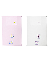 Baby Rap Crib Sheet & Pillow Cover Girl Power And Duck Embroidery Pack Of 2 - Pink White