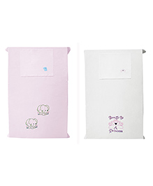 Baby Rap Crib Sheet & Pillow Cover Girl Power And Elephant Embroidery Pack Of 2 - Pink White