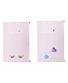 Baby Rap Crib Sheet & Pillow Cover Marine Embroidery Pack Of 2 - Pink