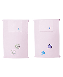 Baby Rap Crib Sheet & Pillow Cover Fish And Elephant Embroidery Pack Of 2 - Pink