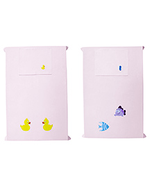 Baby Rap Crib Sheet & Pillow Cover Fish And Duck Embroidery Pack Of 2 - Pink