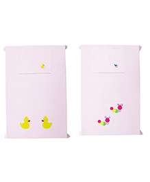 Baby Rap Crib Sheet & Pillow Cover Snail And Duck Embroidery Pack Of 2 - Pink