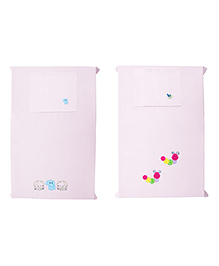 Baby Rap Crib Sheet & Pillow Cover Snail And Elephant Embroidery Pack Of 2 - Pink
