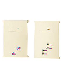 Baby Rap Crib Sheet & Pillow Cover Train And Space Ship Embroidery Set Of 2 - Cream