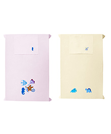 Baby Rap Crib Sheet & Pillow Cover Dino And Sea Party Embroidery Set Of 2 - Pink Cream
