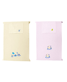 Baby Rap Crib Sheet & Pillow Cover Dino And Baby Duck Embroidery Set Of 2 - Pink Cream