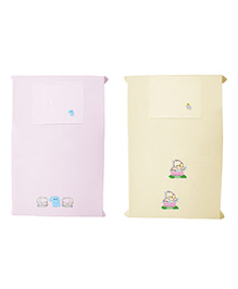 Baby Rap Crib Sheet & Pillow Cover Duckling And Elephant Embroidery Set Of 2 - Pink Cream