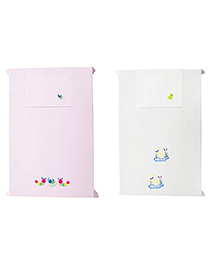 Baby Rap Crib Sheet & Pillow Cover Duck And Snail Embroidery Set Of 2 - Pink White