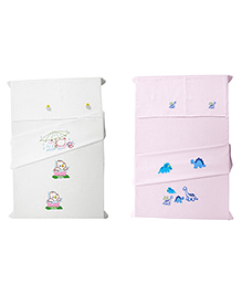 Baby Rap Crib Sheet & Pillow Cover Duck And Dinno Embroidery Set Of 4 - Pink White