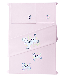 Baby Rap Crib Sheet & Pillow Cover Cow Embroidery Set Of 2 - Pink