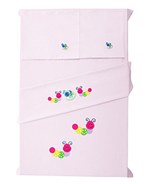 Baby Rap Crib Sheet & Pillow Cover Snail Embroidery Set Of 2 - Pink
