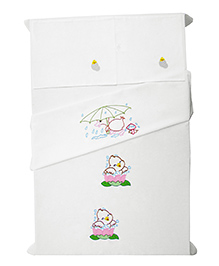 Baby Rap Crib Sheet & Pillow Cover Duck Embroidery Set Of 2 - White
