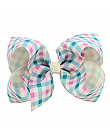 Bobbles & Scallops Checks Alligator Clip - Light Blue & Light Pink