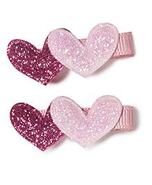 Little Hip Boutique Double Glitter Heart Clip - Pink