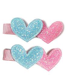 Little Hip Boutique Double Glitter Heart Clip - Pink & Blue