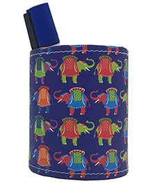 The Crazy Me Pen Stand Elephants Print - Blue