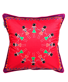 The Crazy Me Cushion Cover Varli Dance Print - Dark Pink