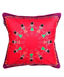 The Crazy Me Cushion Cover Varli Dance Print - Dark Pink