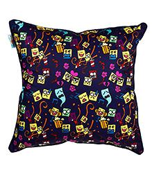 The Crazy Me Cushion Cover Emoji Stickons Print - Navy