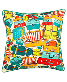 The Crazy Me Cushion Cover Vintage Luggage Print - Multi Color