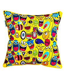 The Crazy Me Cushion Cover Quirk Up Doodle Print - Yellow