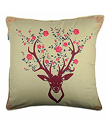 The Crazy Me Cushion Cover Deer Print - Off White