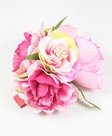 Asthetika Bunch Of Flower Hair Clip - Dark Pink