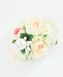 Asthetika Floral Pearl Hair Clip - White