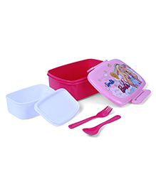 Barbie Sparkle Lunch Box With Fork & Spoon - Pink