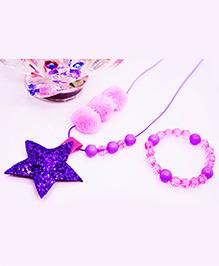 Little Tresses Star & Pompom Pendant And Bracelet Set - Pink & Purple