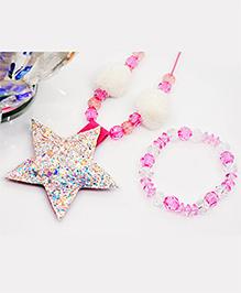Little Tresses Star Necklace And Bracelet Set - White & Pink