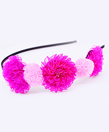 Little Tresses Trio Flowers And Pom Pom Headband - Pink