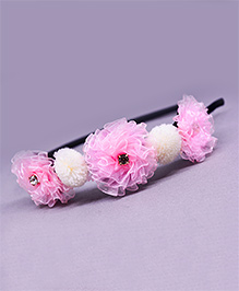 Little Tresses Trio Flowers And Pom Pom Headband - Baby Pink & White