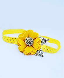 Little Tresses Scalloped Flower With Multicolor Leaves Soft Band - Yellow & Golden
