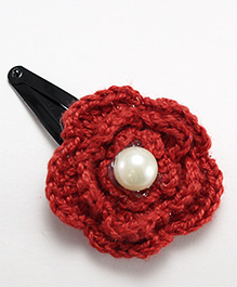 Milyra Snap Clip Crochet Flower With Pearl - Red