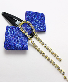 Milyra Snap Clip Bow With Diamond Detailing - Blue