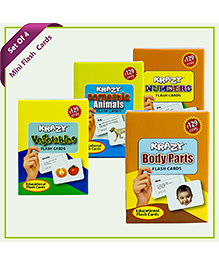 Combo Mini Set Of 4  Krazy Flash Cards (Vegetables+Domestic Animals+Numbers+Body Parts)