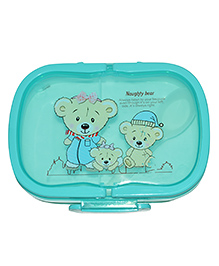 Syga Lunch Box With Spoon Teddy Print - Blue