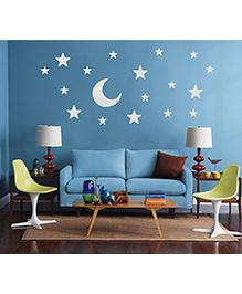 Syga Stars & Moon Shape Acrylic Wall Sticker - Silver
