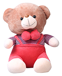 Skylofts Teddy Bear In Dungaree Dress Soft Toy Red - 70 Cm