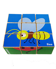 Emob 9 Pieces Wooden Puzzle Toy - Multi Color (Color & Design May Vary)