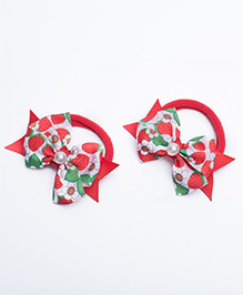 Ribbon Candy Hair Rubber Bands Bow Appliques Pack Of 2 - Red Green & White