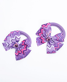Ribbon Candy Hair Rubber Bands Bow Appliques Pack Of 2 - Purple - 2102103