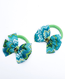Ribbon Candy Hair Rubber Bands Bow Appliques Pack Of 2 - Sea Green