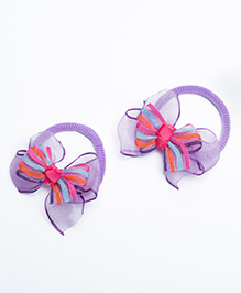 Ribbon Candy Hair Rubber Bands Bow Appliques Pack Of 2 - Purple
